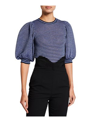 Red Valentino Striped Puff-Sleeve Blouse