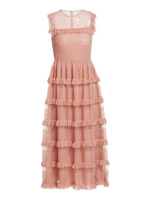 Red Valentino tiered point d'esprit tulle midi dress