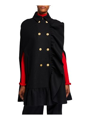 Red Valentino Wool/Cashmere Double-Breasted Ruffle-Trim Cape