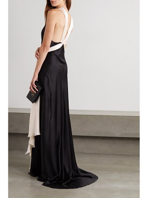 Redemption belted two-tone cutout silk-satin gown