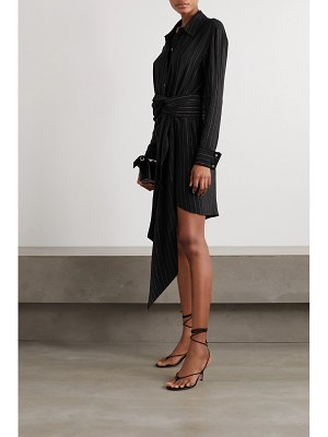 Redemption draped belted striped crepe mini shirt dress