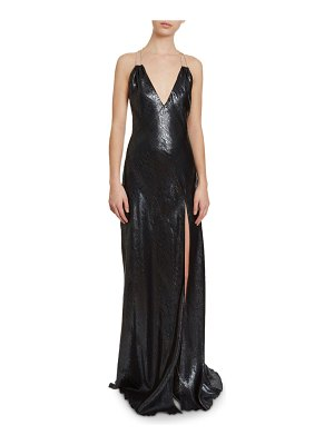 Redemption Jewel-Strapped Snake-Jacquard Column Gown