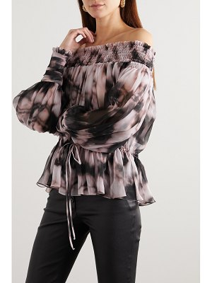 Redemption off-the-shoulder smocked tie-dyed plissé silk-chiffon top