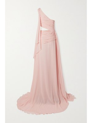 Redemption one-shoulder draped cutout silk-chiffon maxi dress