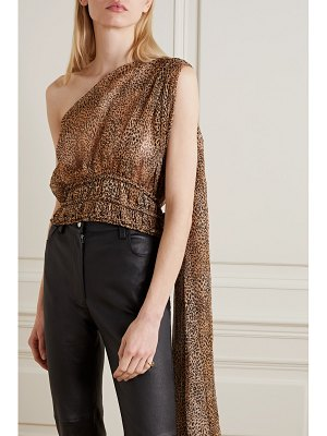 Redemption one-shoulder draped leopard-print silk-blend chiffon top