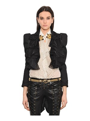 Redemption Ruffled cropped jacket w/ coattails