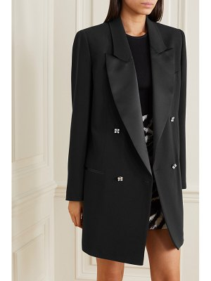 Redemption satin-trimmed crystal-embellished crepe blazer
