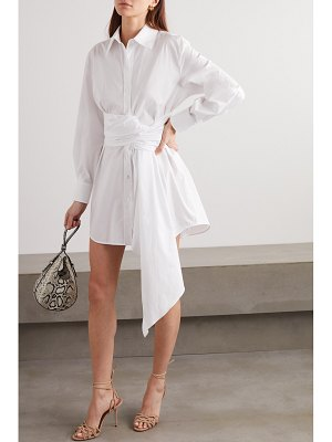 Redemption tie-detailed cotton-blend poplin mini dress
