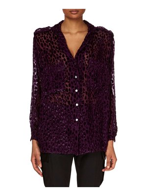 Redemption V-Neck Button-Down Velvet Devore Top