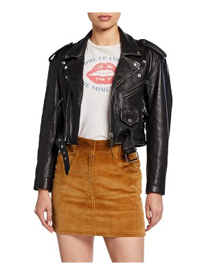 RE/DONE 80s Cropped Leather Moto Jacket