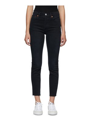 RE/DONE black 90s high rise ankle crop jeans