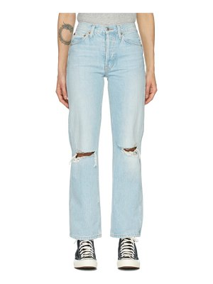 RE/DONE blue distressed 90s high rise loose jeans