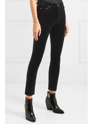 RE/DONE high rise ankle crop stretch-velvet skinny pants