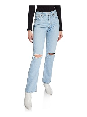 RE/DONE High-Rise Distressed Rigid Straight-Leg Jeans