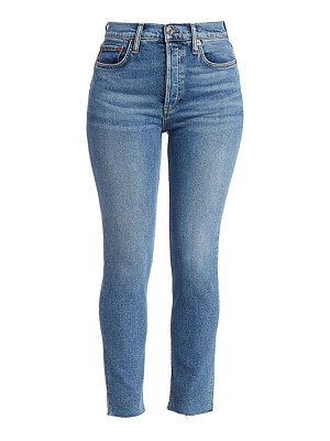 RE/DONE high-rise raw hem stovepipe jeans