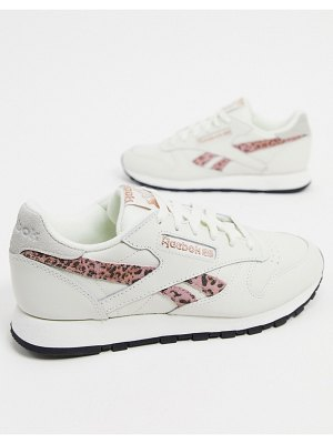 Reebok classic leather sneakers in chalk with leopard print detailing-white