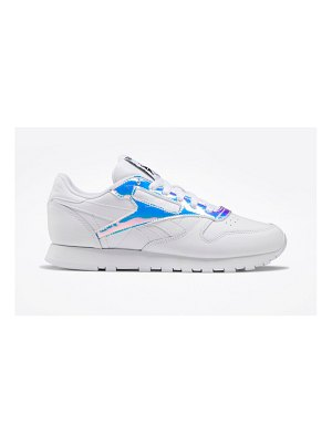 Reebok classic leather sneakers with irridescent detailing in white