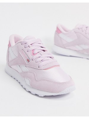 Reebok classic nylon sneakers in white and pink