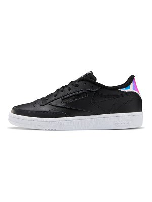 Reebok club c 85 sneakers in black with iridescent details