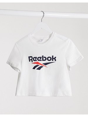 Reebok cropped vector t-shirt in white