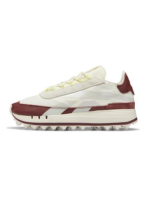 Reebok legacy 83 sneakers in white with burgundy details