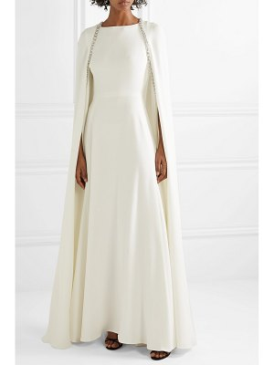 Reem Acra crystal-embellished cape-effect silk-crepe gown