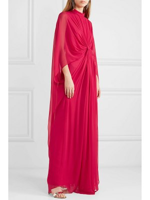 Reem Acra draped knotted silk-chiffon gown