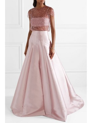 Reem Acra embellished tulle and silk-faille top