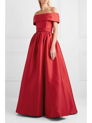Reem Acra off-the-shoulder mikado gown