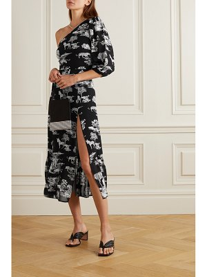 REFORMATION freeport one-sleeve belted printed georgette midi dress