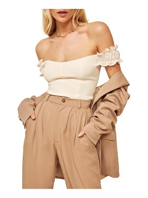 REFORMATION granada off the shoulder silk top
