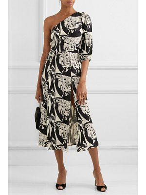 REFORMATION lawrence one-sleeve printed crepe de chine midi dress