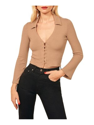 REFORMATION luce ribbed button front top