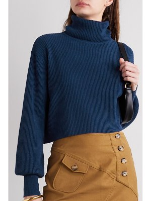 REFORMATION luisa cropped ribbed cashmere and wool-blend turtleneck sweater