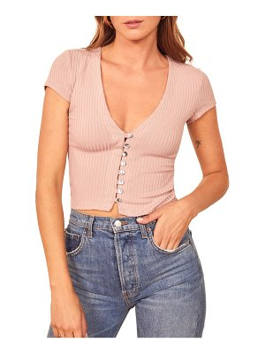 REFORMATION nella button front ribbed v-neck top