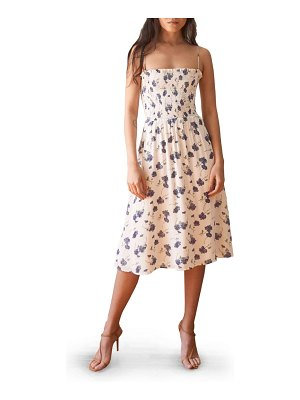 REFORMATION sable smocked bodice midi dress