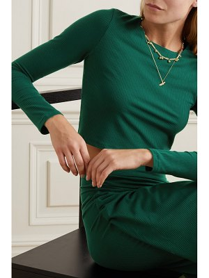REFORMATION vienna ribbed stretch-lyocell top and wrap skirt set