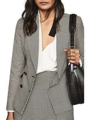 REISS puppytooth check double breasted jacket