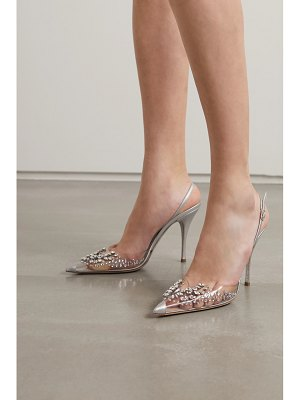 Rene Caovilla claire crystal-embellished metallic leather and pvc slingback pumps