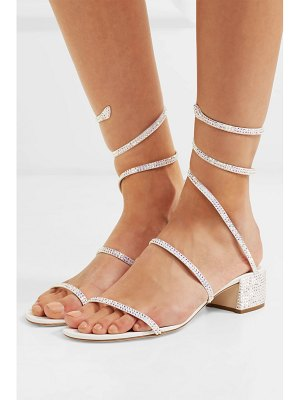 Rene Caovilla cleo crystal-embellished satin and leather sandals