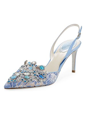 Rene Caovilla Crystal-Beaded Lace/Leather Halter Pumps