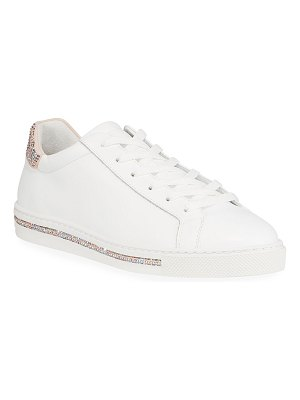 Rene Caovilla Crystal-Embellished Calf Leather Sneakers
