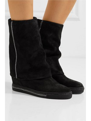 Rene Caovilla crystal-embellished suede wedge boots