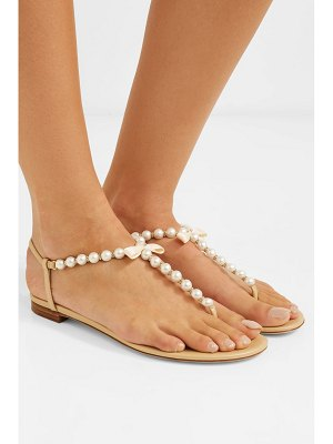 Rene Caovilla faux pearl-embellished leather sandals