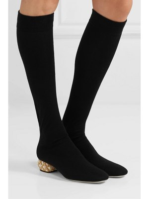 Rene Caovilla grace embellished cashmere over-the-knee boots