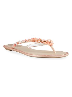 Rene Caovilla Pearly Coral Flat Thong Sandals