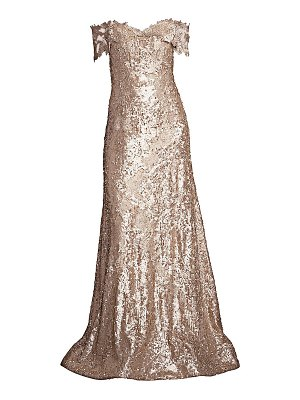 Rene Ruiz Collection off-the-shoulder embroidered floral sequin gown
