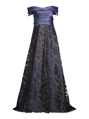 Rene Ruiz Collection off-the-shoulder embroidered metallic ball gown