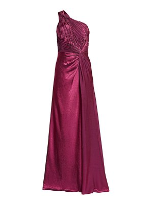 Rene Ruiz Collection one-shoulder textured silk gown
