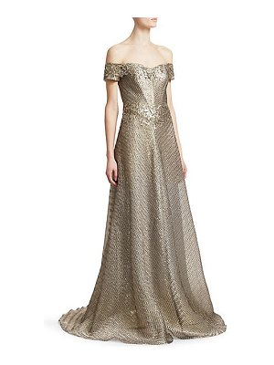 Rene Ruiz metallic organza embroidered off-the-shoulder gown